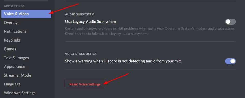 Reset Voice Settings, Can't Hear People On Discord